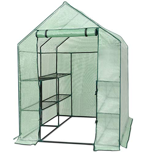 Giantex Outdoor Portable Greenhouse Mini Walk In 3 Tiers 12 Shelves Stands Small Shelving Green House for Herb and Flower