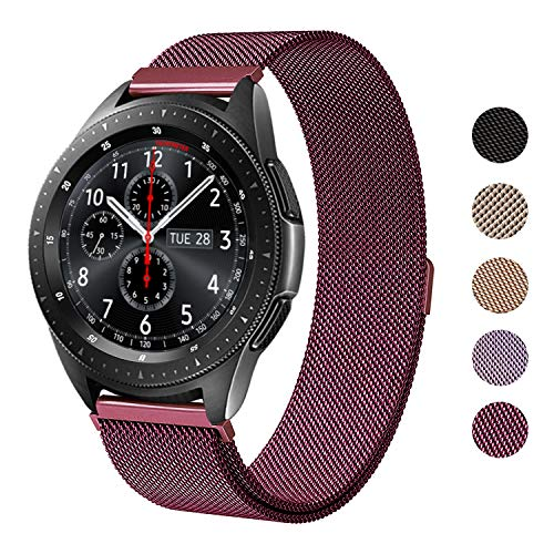 SWEES Milanese Band Compatible Samsung Galaxy Watch 42mm, 20mm Magnetic Stainless Steel Metal Replacement Band for Galaxy Watch 42mm, Gear Sport, Gear S2 Classic Smartwatch Girls Women Men, Wine
