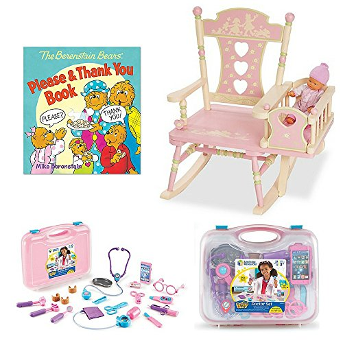 Learning Resources Pretend & Play 19-Piece Doctor Set in Pink, Wildkin Rock-A-My-Baby Rocking Chair in Pink,