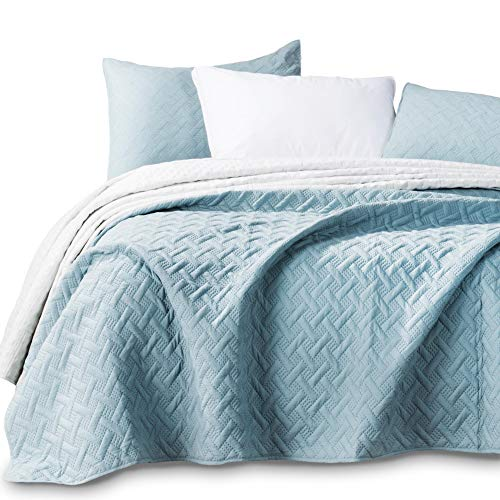 KASENTEX Quilted Coverlet 3-pc Mini Bedding Set-All Season Lightweight Ultra Soft Stone Washed Blanket-Heat-Pressed 2-Tone Reversible Color, Full/Queen + 2 Shams, Aqua Green/Fairest Jade