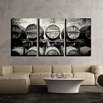 3 Piece Canvas Wall Art - Barrels Stacked in The Winery in Black and White - Modern Home Art Stretched and Framed Ready to Hang - 16