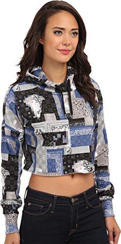 Crooks & Castles Women's Knit Cropped Hoodie - Luxe Bandit Bandana Multi Sweatshirt MD