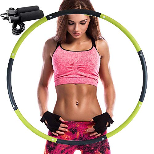 REDSEASONS Hula Hoop for Adults,Lose Weight Fast by Fun Way to Workout,Easy to Spin, Premium Quality and Soft Padding Hula Hoop,with Free Accessory Skipping Rope(Green) (Best Way For Kids To Lose Weight)