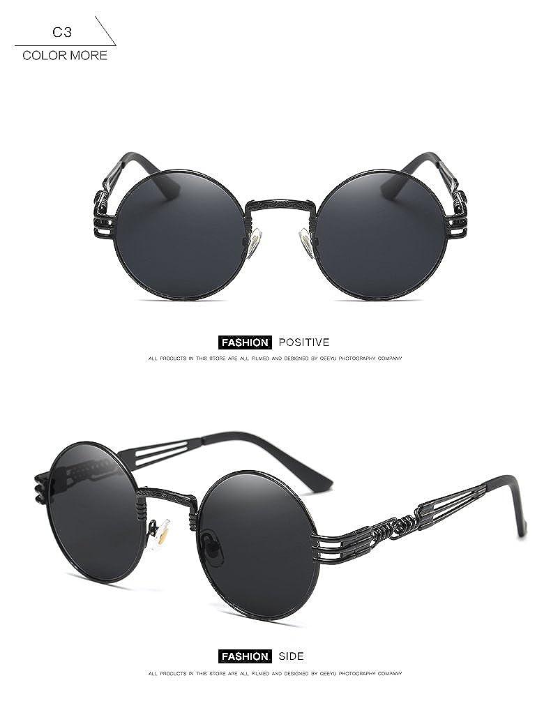 9ae5694f2 Amazon.com: Dollger 2 Pack John Lennon Round Sunglasses Steampunk Metal  Frame Mirror Lens: Clothing