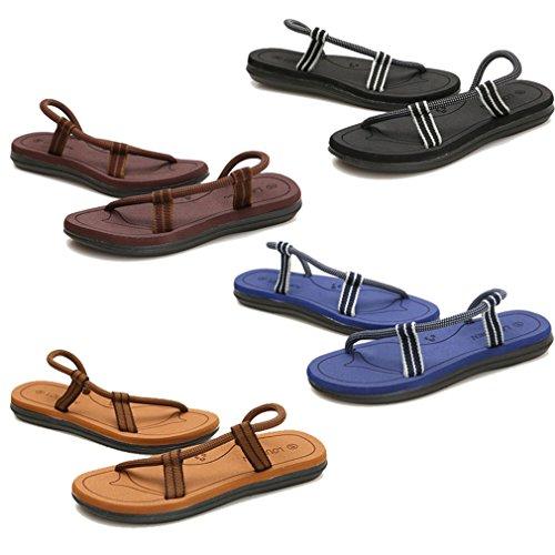 Sandales Plates Anti-Dérapantes Sandales Plates Style Plage Chaussures à Double Usage pour Hommes et Femmes, Asiatiques 36-45 (5 Couleurs: Kaki, Noir, Bleu foncé, Marron, Rouge) Kaki1