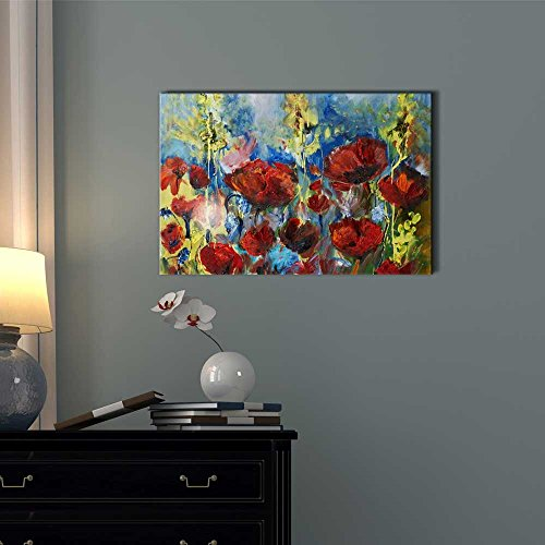 Red Poppy of Spring in Oil Painting Style Wall Decor