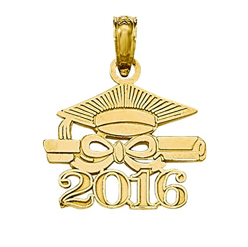 Yellow Gold Graduation Charm (14k Yellow Gold Graduation Cap Diploma 2016 Charm)