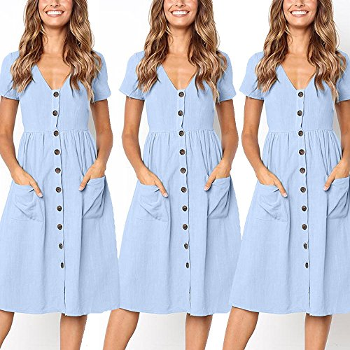 TOTOD Dress for Women Fashion Solid Short Sleeve Buttons V-Neck Dress Summer Holiday Beach Sundress Light Blue by TOTOD (Image #5)