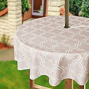 Eforcurtain 60Inch Round Umbrella Table Cover with Zipper Geometric Floral Tablecloth Water Proof Fabric for Patio, Khaki and White