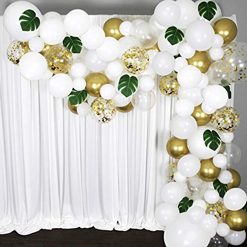 Balloon Garland Arch Kit 16 Ft Long- 168 Pieces White, Gold and Confetti - Tropical Palm Leaves Greenery for Baby Shower Decorations, Wedding, Bachelorette, Engagement, Birthday Party and Anniversary (Balloons Decorations With Wedding)