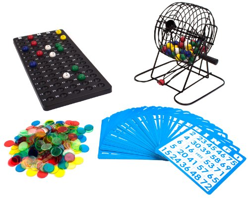 Deluxe Bingo Set - 6-Inch Metal Cage with Calling Board, 75 Colored Balls, 300 Bingo Chips, & 50 Bingo Cards for Large Group Games by Royal Bingo Supplies]()