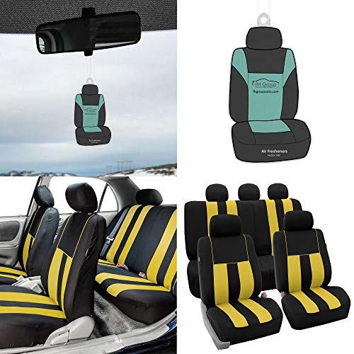FH Group FB036115 Striking Striped Seat Covers Airbag & Split Ready w. Free Air Freshener, Yellow/Black Color - Fit Most Car, Truck, Suv, or (Best Hs Electric Blanket)