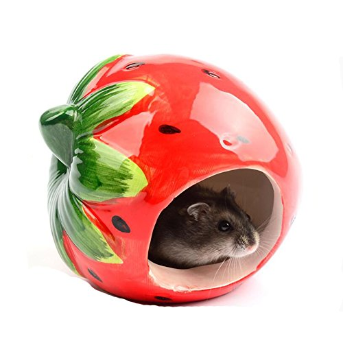 Ceramic Strawberry - JOLIN'S SHOP Ceramic Cartoon Strawberry Shape Hamster House Home, Summer Cool Small Animal Pet Nesting Habitat Cage Accessories (Strawberry)