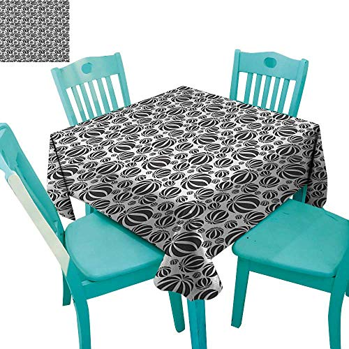 longbuyer Abstract,Printed Tablecloth,Circular Stripe Balls Geometric Monochrome Balloons Round Shapes Beach Theme,70
