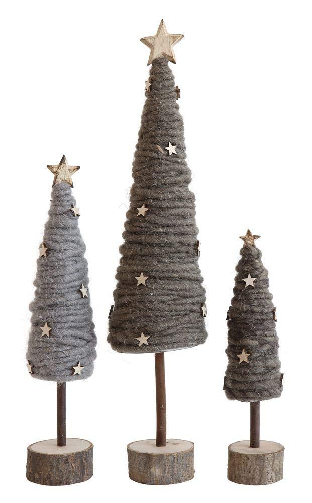 Creative Co-op XM0666 Medium Grey Wool Tree with Wood Stars