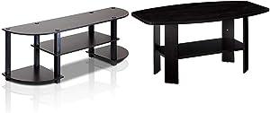 Furinno Turn-S-Tube Wide TV Entertainment Center, Espresso/Black & Simple Design Coffee Table, Espresso