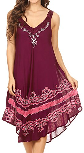 Sakkas 16605 - Gasha Sleeveless Mid Length Caftan Dress with Embroidery Details and V Neck - Burgandy - OS