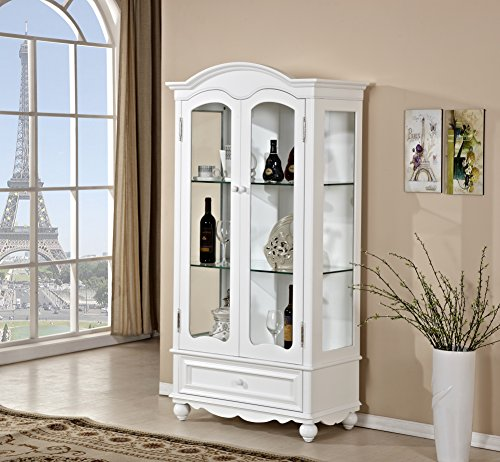 Mixcept Solid Oak Glass Front Display Cabinet Dresser Cabient Wall Unit Cupboard,White - Dining Room Painted Cabinet