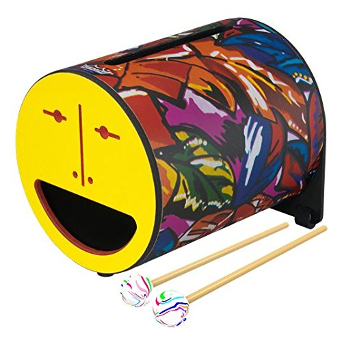 remo Drum, Rhythm Log, 7'' x 8'', With Mallets, Tropical Leaf, yellow