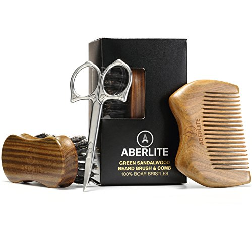 Aberlite Beard Straightening Brush Kit for Men -...