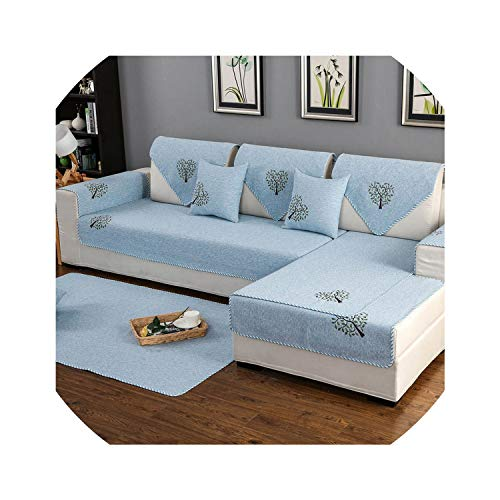 Sofa Slipcovers Small Tree Printing Sofa Cover Cotton Slip Resistant Sofa Towel Sofa Covers for Living Room Sofa Cushion Multi-Size 6 Colors,Blue No Lace,90X90Cm