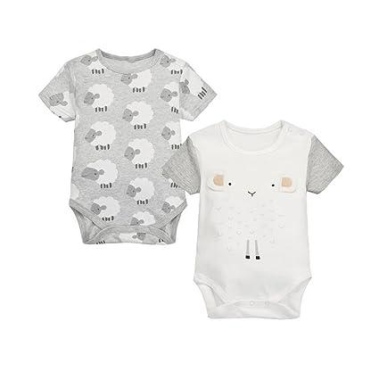 CuteOn Recién nacido Bebé Chicos Chicas 2 paquetes Mameluco Algodón ...