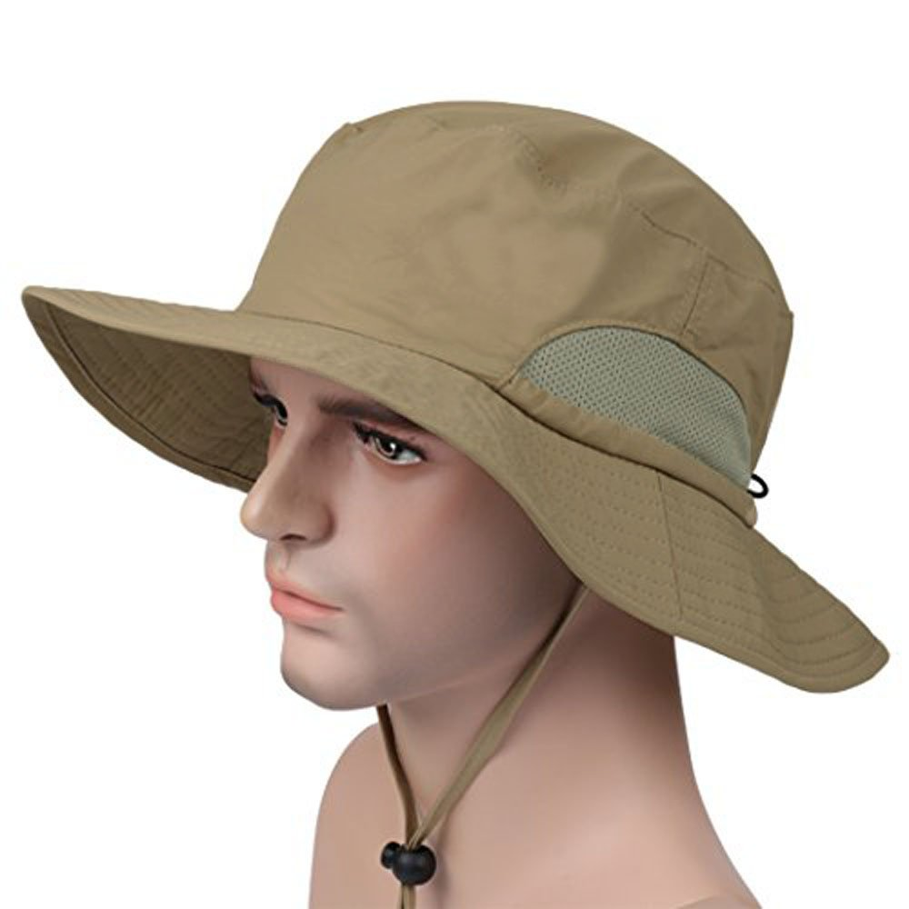 Puli Waterproof Foldable Mesh Panel Outdoor Wide Brim Fishing Boonie Sun Hat uv Protection,Khaki