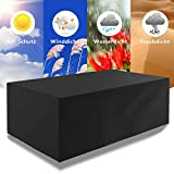ECHILUCK Cover for garden furniture Garden table 420D Oxford fabric Seating group Cover protects against rain, snow and other environmental influences, Rectangular (242x162x100cm) - Color Black