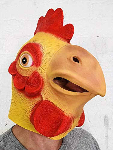 Chicken Mask , Rubber Johnnies , One Size , Yellow , Animal Masks, Rubber Chicken, Party Accessory