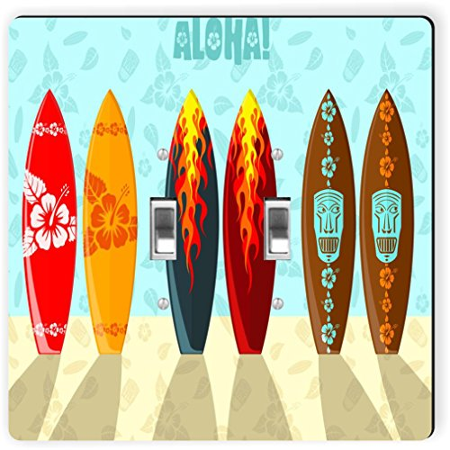 (Rikki Knight 1066 Double Toggle Aloha Surfboards Design Light Switch Plate)