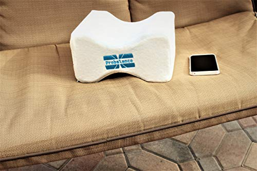 Orthopedic Contour Memory Foam Knee Pillow for Spinal Support with Cool Gel Tech and Soft White Bamboo Jacquard Velvet Cover Extra Blue Velvet Cover