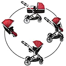 Cria Combi Single converts to double pushchair pram carrycot (toddler seat sold separately)Suitable from Newborn includes a footmuff (Maxi cosi clips available or compatible with Kids Kargo car seat sold separately) Rain cover Silver Chassis Berry Red by Kids Kargo by Kids Kargo