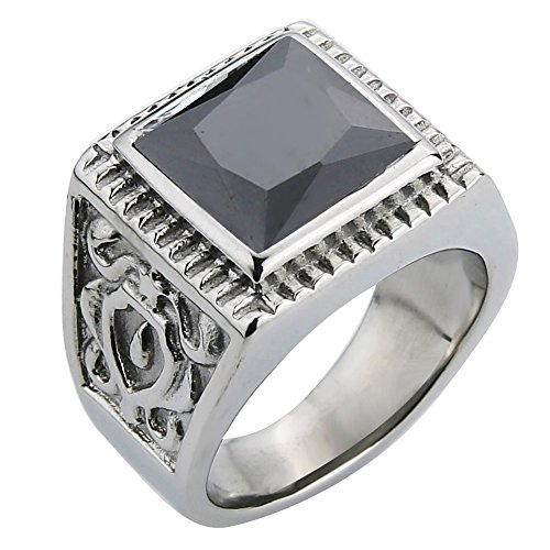 ond Ring Stainless Steel Fashion Flower Square Green Glass Ring for Men Silver Color Band Rings Jewelry (Black CZ, 12) ()