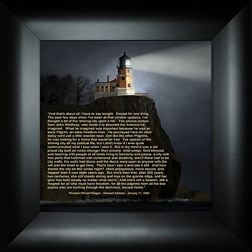 Lighthouse Rock Pictures Split (Shining City on a Hill By Todd Thunstedt 18x18 Ronald Reagan Farewell Speech President Quote Verse Lighthouse Split Rock Two Harbors North Shore Drive Duluth Framed Art Print Wall Décor Picture)