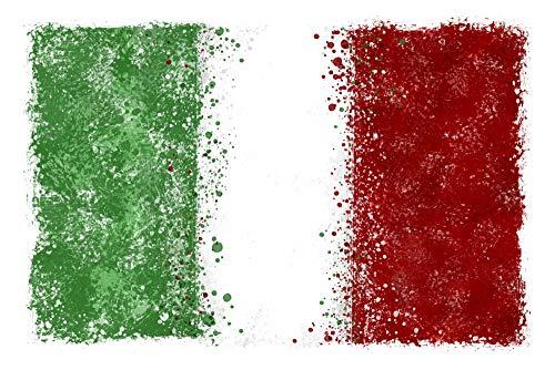 Italian Flag - Abstract Watercolor Splatter (9x12 Art Print, Wall Decor Travel Poster)