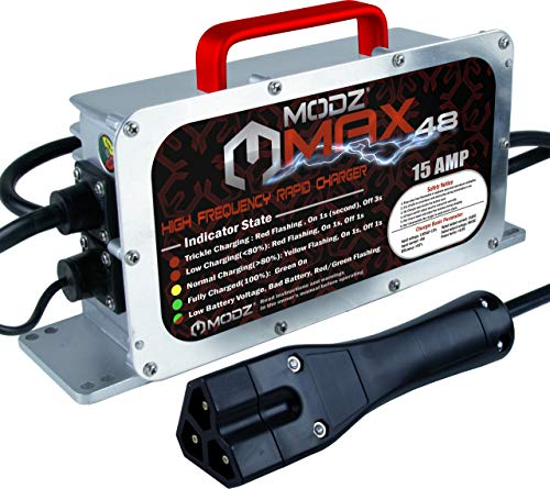 MODZ Max48 15 AMP EZGO RXV & TXT48 Battery Charger for 48 Volt Golf Carts