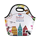 Semtomn Lunch Tote Bag Holland Travel Cultural and Sightseeing Symbols Tulips Wooden Clogs Reusable Neoprene Insulated Thermal Outdoor Picnic Lunchbox for Men Women