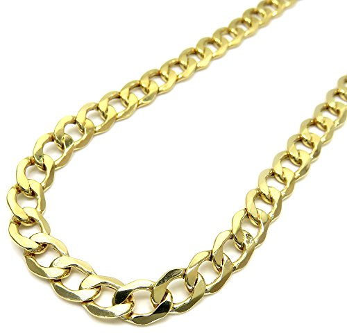 10K Yellow Gold Men Women's 7.5 MM Hollow Miami Cuban Chain lobster Clasp, 18 to 24 Inches by Jawa Fashion