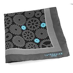Tateossian Men's Rhodium Plated and Fibre Optic Glass Bull and Bear Cufflinks - Silver/Black