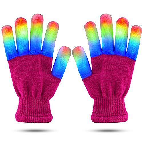 LED Finger Light Gloves Cool Fun Toys, Flashing Light Up Kids Size Medium Pink Gloves - 6 Modes Super Bright LEDs Blue, Green and Red (Pink, Medium)