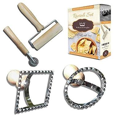 Premium 4-Piece Ravioli Maker Set | Pastry Roller, Pasta Wheel Cutter / Crimper, Square & Circle Ravioli Stamps | Hardwood Handles, Food Safe, Bacteria Resistant & Kid Friendly