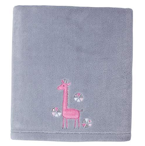 (Hebel Little Love by Giraffe Time Appliqued Coral Blanket, Pink | Model BLNKT - 9 | 72)