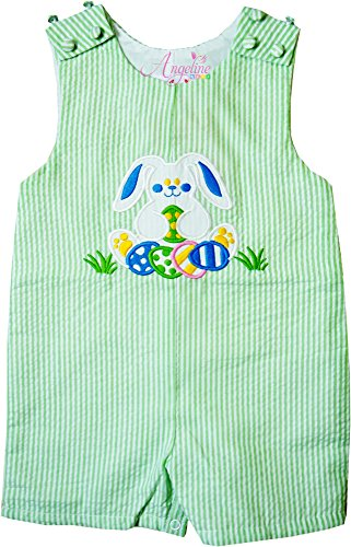 Boys Gingham Shortall (Angeline Baby Boys Easter Bunny Shortall JonJon Romper Seersucker Lime/Green 18-24M)