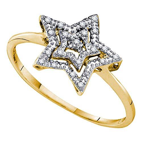 10kt Yellow Gold Womens Round Diamond Star Ring 1/20 Cttw