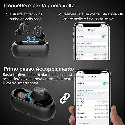 Auricolari Bluetooth 5.0, HOMSCAM Cuffie Bluetooth Auricolari Wireless Stereo Senza Fili Sportivi in Ear con Custodia da Ricarica Microfono Leggeri Hi-Fi Cuffie per Samsung iPhone iPad Huawei Sony HTC