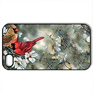 Pair Of Beautiful Cardinals - Case Cover for iPhone 4 and 4s (Birds Series, Watercolor style, Black)