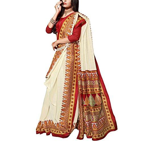 Applecreation Women's Formal Wear Bhagalpuri Silk Saree With Unstitched Blouse Free Size Cream