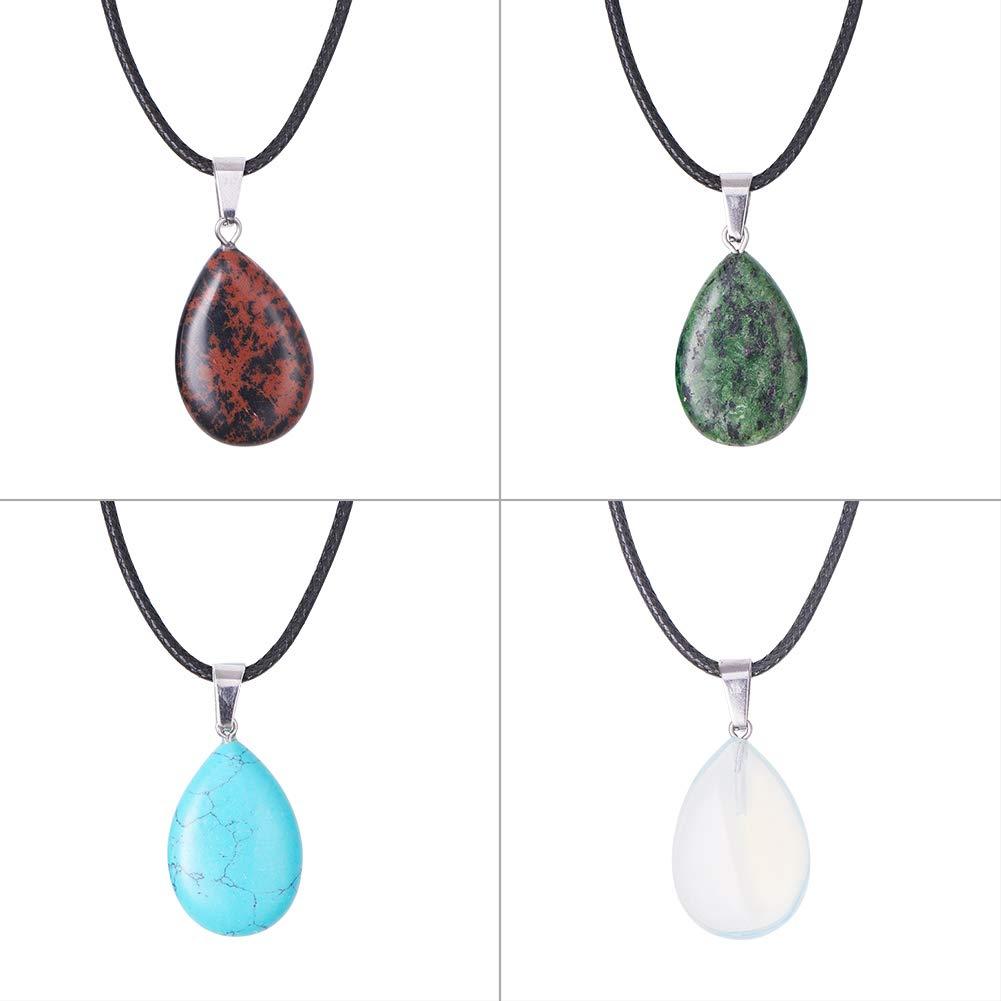 PandaHall Elite 24pcs Teardrop Water Drop Shape Healing Chakra Charm Beads Crystal Quartz Stone Dyded Gemstones Pendants for Necklace Jewelry Making Total 12 Colors