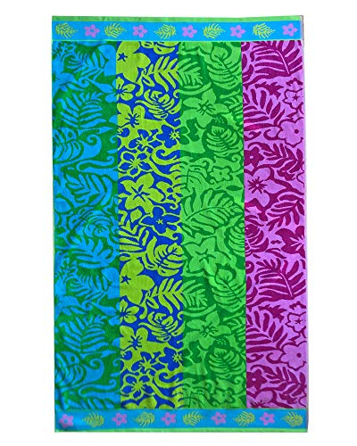 - Espalma Over Sized Luxury Beach Towel, Large Size 70 Inch x 40 Inch Soft Velour and Reversible Absorbent Cotton Terry, Thick and Plush Jacquard Beach Towel, Multi Tropical Palm Stripe