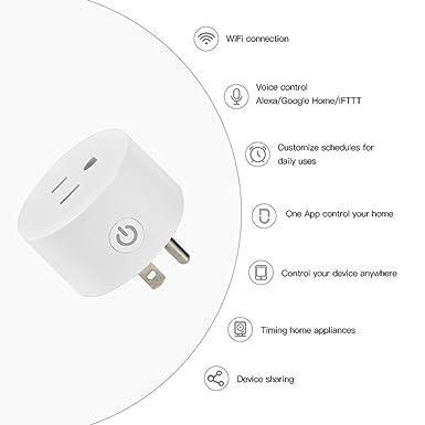 Enchufe inteligente enchufe inteligente de salida WiFi funciona con Alexa y Google Home Assistant solo admite red de 2.4GHz enchufe de control remoto con funci/ón de temporizador